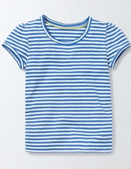 Ivory/Skipper Stripe Short Sleeve Pointelle T-shirt