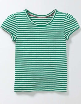 Ivory/Wasabi Stripe Short Sleeve Pointelle T-shirt