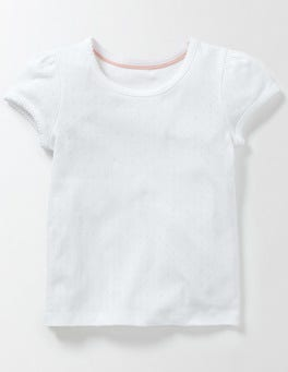 White Short Sleeve Pointelle T-shirt