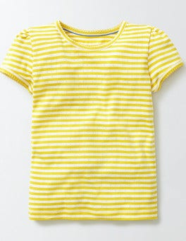 Ivory/Mimosa Stripe Short Sleeve Pointelle T-Shirt