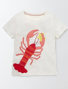 Ivory Lobster Aquatic Appliqué T-shirt