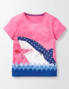 Pink Fizz Shark Aquatic Appliqué T-Shirt