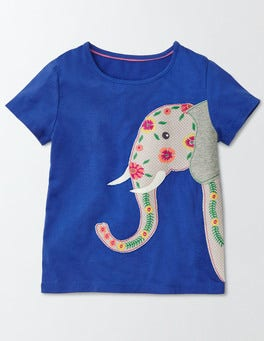Island Sapphire Elephant Fun Appliqué T-shirt