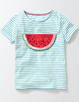 Ivory/Sail Stripe Watermelon Fluttery Fruit T-shirt