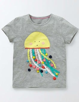 Grey Marl Jelly Fish Vacation Appliqué T-shirt
