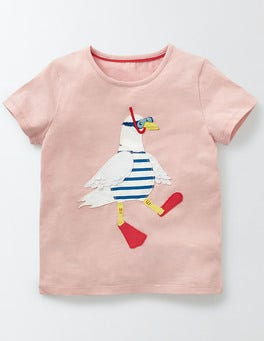 Chalky Pink Seagull Holiday Appliqué T-shirt