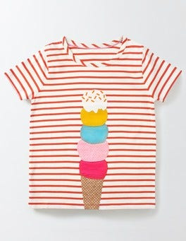 Ivory/Rosehip Ice Cream Stripy Summer T-shirt