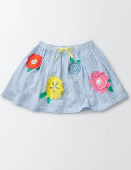 Bright Bluebell Stripe/Flowers Flutter Flower Skirt