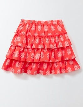 Coral Crush Woodblock Summer Skort
