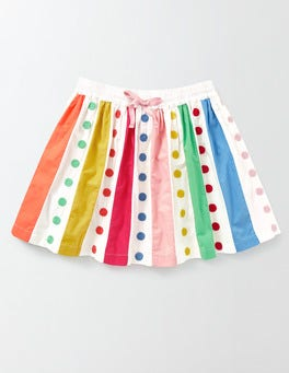 Ivory/Rainbow Spot Twirly Rainbow Skirt