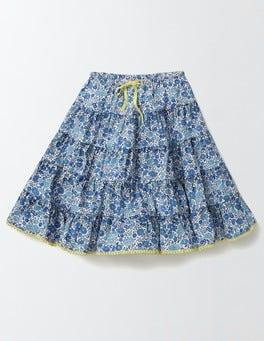 Island Sapphire Flower Bed Twirly Woven Skirt