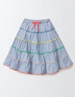 Island Sapphire Stripe Twirly Woven Skirt