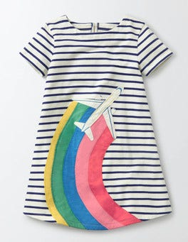 Ivory/Starboard Jet Stripy Appliqué Jersey Dress
