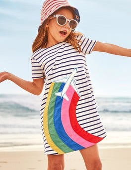 Stripy Appliqué Jersey Dress