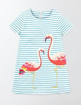 Ivory/Sail Stripe Flamingo Tropical Appliqué Dress