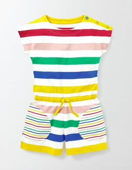 Rainbow Multi Stripe Colourful Jersey Playsuit