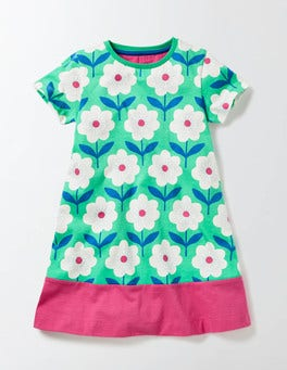 Mint Flower Stamp Flowery Jersey Dress