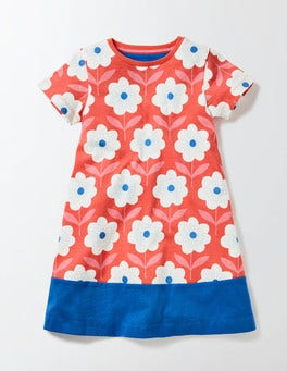 Coral Crush Flower Stamp Flowery Jersey Dress