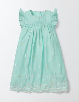 Opal Green Embroidered Party Dress