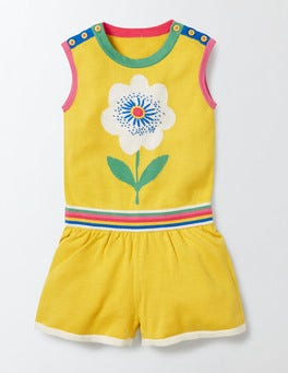 Mimosa Yellow Flower Knitted Romper