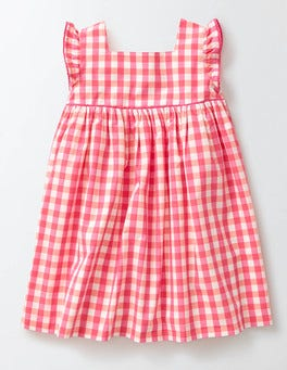 Coral Crush/Mid Pink Check Printed Woven Dress