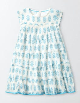 Sail Blue Woodblock Woven Twirly Dress