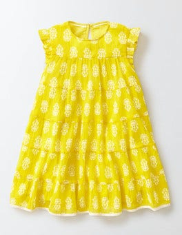 Mimosa Woodblock Woven Twirly Dress