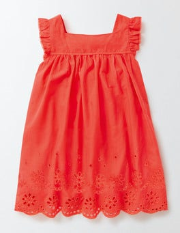 Coral Crush Broderie Detail Dress