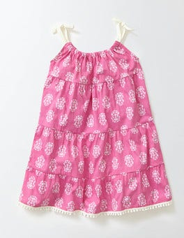 Mid Pink Woodblock Jersey Sundress