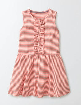 Coral Crush Jersey Ruffle Dress