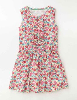 Pink Fizz Flowerbed Jersey Ruffle Dress