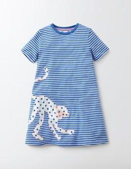 Skipper/Ivory Stripe Monkey Jungle Graphic Dress