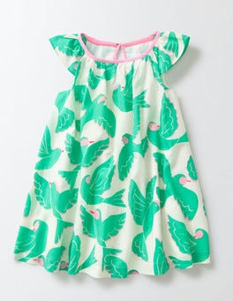 Mint Tropical Birds Printed Flutter Sleeve Dress