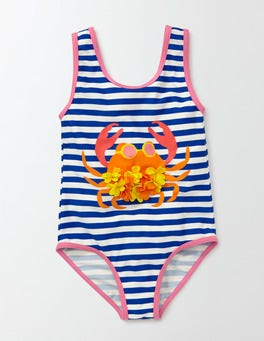 Noble Blue/Ivory Stripe Crab Printed Swimsuit