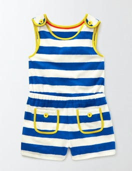 Skipper/Ivory Stripe Towelling Playsuit