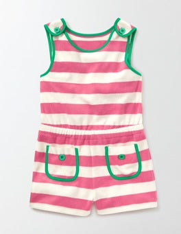 Pink Fizz/Ivory Stripe Towelling Playsuit
