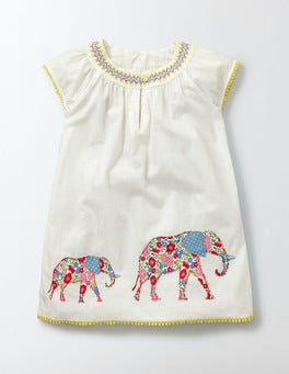 Ecru Elephant Patchwork Appliqué Kaftan