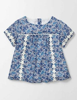 Island Sapphire Flower Bed Daisy Woven Top