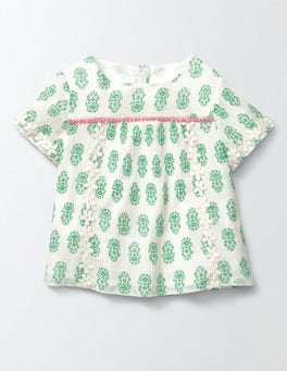 Ivory/Mint Woodblock Daisy Woven Top