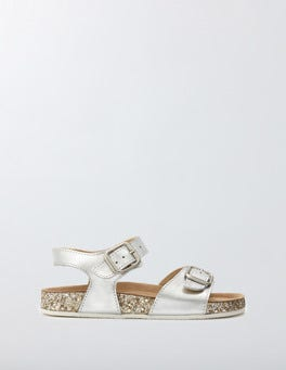 Silver Metallic Leather Glitter Sandals