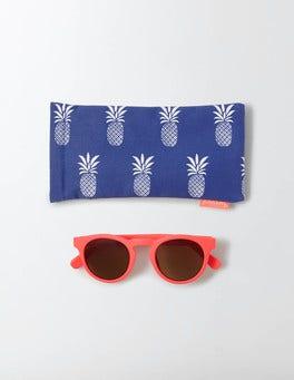 Fluoro Coral Round Sunglasses