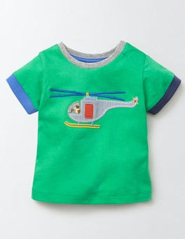 Astro Green/Helicopter Vehicle Appliqué T-Shirt