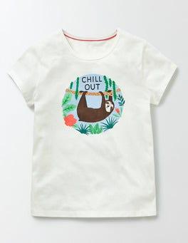 Ivory Sloth Skinny Graphic T-Shirt