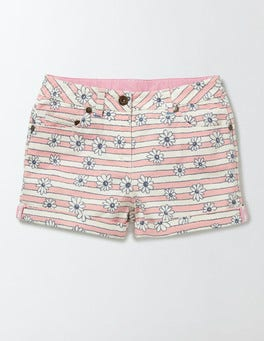 Chalky Pink Daisy Stripe Denim Shorts