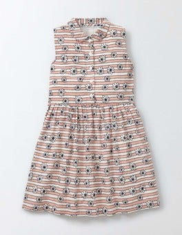 Chalky Pink Daisy Stripe Ursula Dress