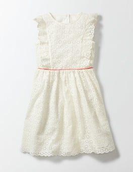 Ecru Broderie Frill Dress