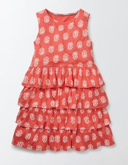 Coral Crush Woodblock Vanda Dress
