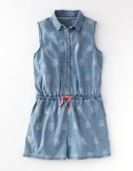 Chambray Woodblock Melanie Playsuit