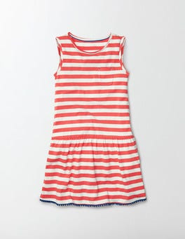 Ivory/Coral Crush Stripe Federica Dress