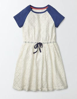 Ivory/Starboard Broderie Kendra Dress